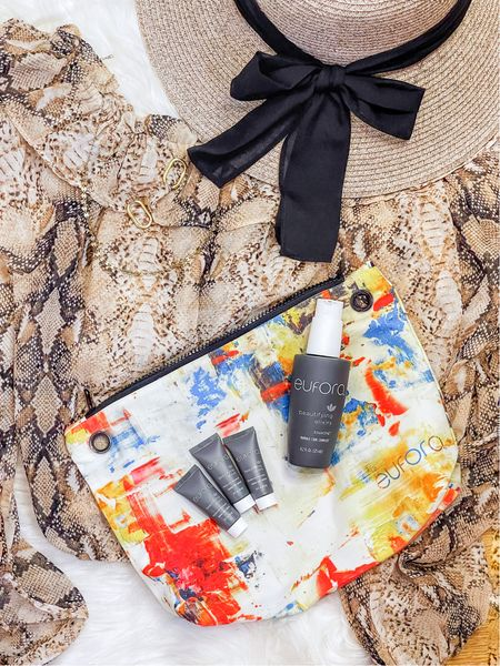 Your hair is one of your most important accessories! Pairing this adorable sun hat and snakeskin top with my Eufora beauty bag elixirs for the perfect travel combo!  #LTKtravel #LTKSeasonal #LTKbeauty