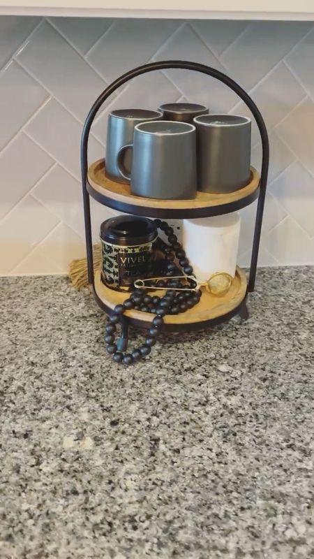 Tea bar. Coffee bar. Kitchen decor. Tea station. Coffee station. Black decorative beads. Styling beads. Stoneware mugs. Modern mugs. Tiered tray. Mugs sourced from IKEA   #LTKstyletip #LTKunder50 #LTKhome