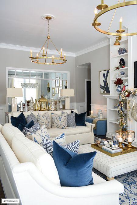 Elegant holiday decorating in blue and gold!  #LTKhome #LTKHoliday #LTKstyletip
