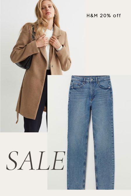 H&M 20% off sale - belted French coat, wool coat, khaki coat, high waisted straight leg jeans, fall, winter  #LTKsalealert #LTKunder100