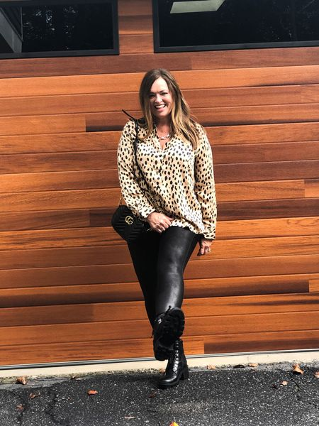 This cheetah satin blouse is gorgeous and can be worn in or out! Beautiful weight to the fabric! #gifted @lovechicos  I added my combat boots and designer look purse. Next I might style it business casual?  #LTKstyletip #LTKbacktoschool #LTKcurves