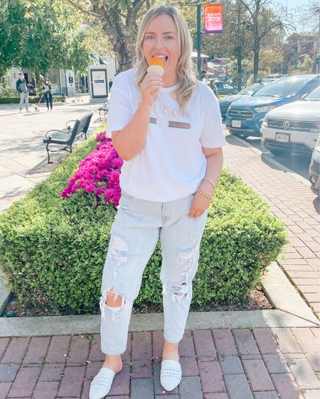 Gucci dupe tee. Mom jeans under $25 and fit true to size. I'm wearing a size 12 and a large top. Shop my daily looks by following me on the LIKEtoKNOW.it shopping app http://liketk.it/3fg6K #liketkit @liketoknow.it #LTKunder50 #LTKstyletip #LTKsalealert