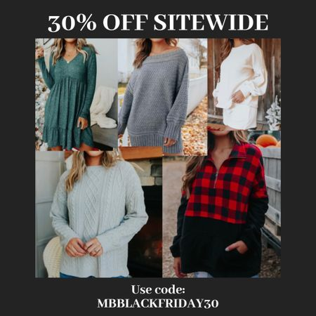 Get 30% off sitewide!!! Use code: MBBLACKFRIDAY30 on all items including these cute sweaters, long sleeve dresses and Sherpa jackets!! http://liketk.it/32p6A #liketkit @liketoknow.it #LTKgiftspo #LTKsalealert #LTKitbag You can instantly shop all of my looks by following me on the LIKEtoKNOW.it shopping app