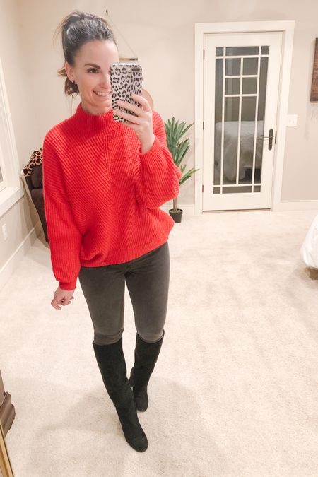 Day 3 of Valentine themed attire! Red sweater, grey jeggings and tall slouchy black boots.   http://liketk.it/384rZ #liketkit @liketoknow.it   Follow me on the LIKEtoKNOW.it shopping app to get the product details for this look and others