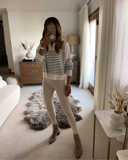 1/4 zip up knit sweater xs Fuseau stirrup leggings in cream xs Bazar booties (recent) linking a similar style - fall outfit Neutrals outfit, Karina style diaries   #LTKstyletip #LTKunder100 #LTKSeasonal