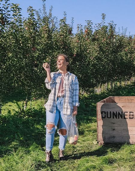 Went to the apple orchard today and threw some apples around. I've linked a similar shacket, and these jeans and tee! All on sale right now too which is bonus! The shacket sizes are selling out quick! Everything fits TTS!   #LTKsalealert #LTKSeasonal #LTKunder100