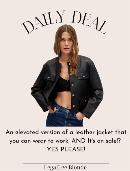 A leather jacket cut like a boxy blazer - so chic and trendy for fall! Snag it while it's on sale! Fits true to size. - work wear - fall jacket   #LTKunder100 #LTKsalealert #LTKstyletip