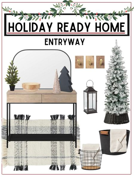 Refresh your entryway or spruce it up for holiday guests!   All home furnishings are from target and linked below!          Entryway decor , Home decor , Christmas decor , holiday decor ,  home furnishings , Christmas tree , flocked tree , console table , mirror , target style , target home decor , target Christmas , rug , area rug , storage baskets #ltkunder50 #ltkseasonal #ltkstyletip  #LTKunder100 #LTKhome #LTKHoliday