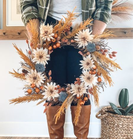 This gorgeous wreath is filled with beautiful stems from @Michael's fall floral collection - and they're all 40% right now!  Want to make this wreath? Check out my tutorial at www.therurallegend.com  #LTKsalealert #LTKSeasonal #LTKhome