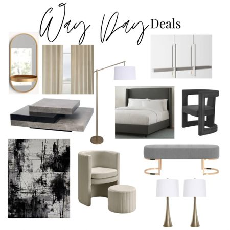 Way Day deals. Wayfair furniture and decor sale. Modern gray neutral furniture. Accent armchair. Upholstered bed. Velvety curtains. Modern coffee table. Abstract rug. Lamp. Chandelier. Table lamps. Bedroom bench. Gold mirror.   #LTKsalealert #LTKhome #LTKstyletip
