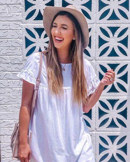 A closer up look at this mini white shirt dress with ruffle sleeves (worn backwards here), blush clear bag, & wide brim hat for spring & summer. Size down one for dress. http://liketk.it/2Cko9 #liketkit @liketoknow.it #LTKunder100 #LTKunder50 #LTKstyletip #LTKspring #LTKitbag #LTKcurves #LTKbeauty #LTKwedding