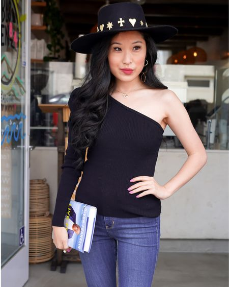 Off the shoulder long sleeve black top by BarIII is a style winner! Dress it up or down with your favorite jean leggings and black boater hat! Don't forget to grab your favorite book. http://liketk.it/3eJhJ #liketkit @liketoknow.it