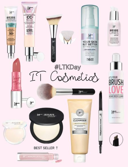 IT Cosmetics LTK Day sale preview. SAVE your favorite items today and SHOP tomorrow 6/11 through 6/14. Bye bye products, cc cream SPF, foundation brush, powder brush, setting spray, serum, lipstick, confidence in a cleanser, brow pencil, lipgloss. http://liketk.it/3hgbm @liketoknow.it #liketkit #LTKDay #LTKsalealert #LTKunder50 #LTKunder100 #LTKbeauty