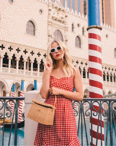 Red gingham dress, red check dress, Fourth of July outfit, July 4th outfit, July 4th style, red white and blue outfit, basket bag, white sunglasses http://liketk.it/2Bfe7 #liketkit @liketoknow.it
