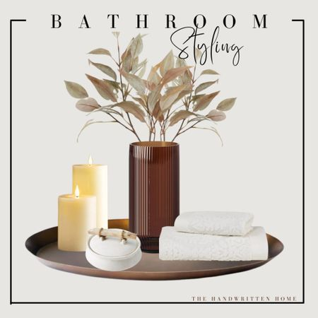 Bathroom styling for fall  These could easily be added to any table: kitchen, console, entry or side!  Fall table decor   Target find   hearth and hand decor   stoneware   brass home decor   console table decor   fall home decor  #LTKSeasonal #LTKhome #LTKunder50