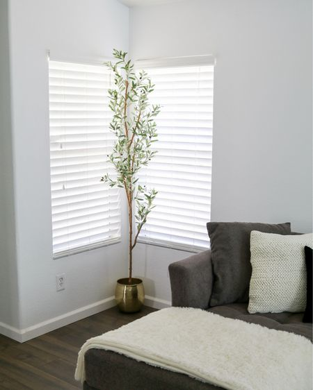 faux olive tree, brass planter, knit pillow, affordable home decor  #LTKsalealert #LTKhome #LTKstyletip