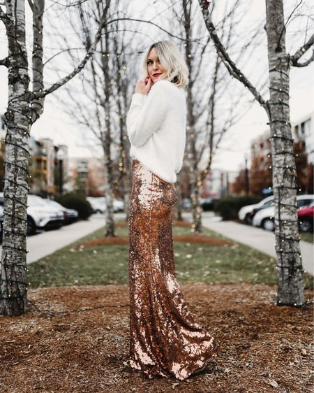 Sequin maxi skirt and eyelash sweater under $50 each http://liketk.it/2I3A8 @liketoknow.it #liketkit #LTKholidaystyle #LTKunder50 #LTKstyletip sequins, holiday outfits, dressy, Amazon, H&M, New Year's Eve outfit, winter outfits, clip in hair extensions, Chanel lipstick