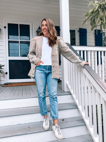 New early fall favorites from @shopbop!  Size 27 in jeans Size small in white tee Size small in cardigan Size 1 in stripe blouse Size 2 in black dress