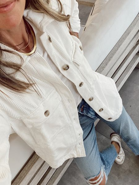White shirt jacket (comes in 3 color options and I sized down, soft and not rigid)  Chunky herringbone necklace layers perfectly with dainty pieces  Both are 20-25% off depending on insider status.   #LTKstyletip #LTKsalealert