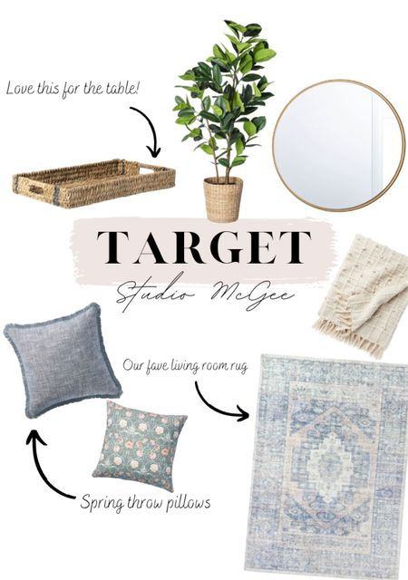 New Studio McGee collection at #Target 🍃🌼 throw pillows, pillows, wicker, mirror, faux plants, throw blanket, rug, target finds, home decor   #LTKSeasonal #LTKhome