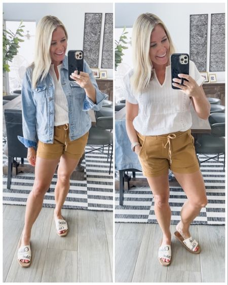 Love these neutral elastic waist shorts with this oversized white crochet top and a denim jacket. Size small jacket, XS shirt and 2 shorts. Chloe sandals women's summer outfit ideas casual shorts   #LTKstyletip #LTKSeasonal #LTKshoecrush
