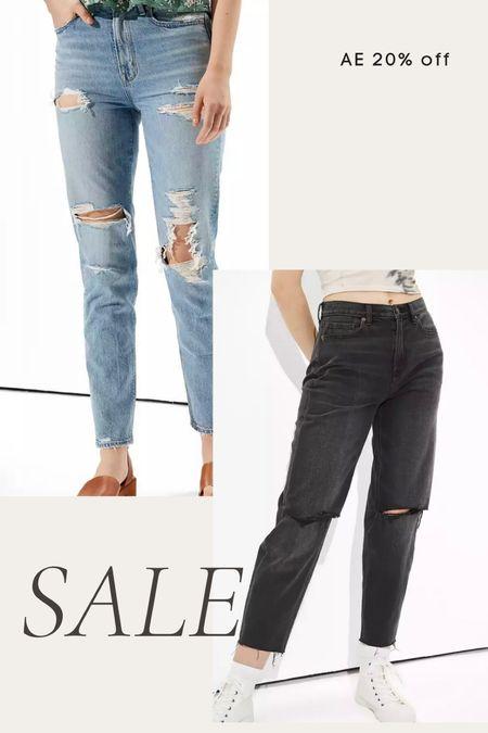 American Eagle jeans 20% off, high waisted jeans, mom jeans, ripped jeans, black jeans, fall denim   #LTKsalealert #LTKunder100 #LTKunder50