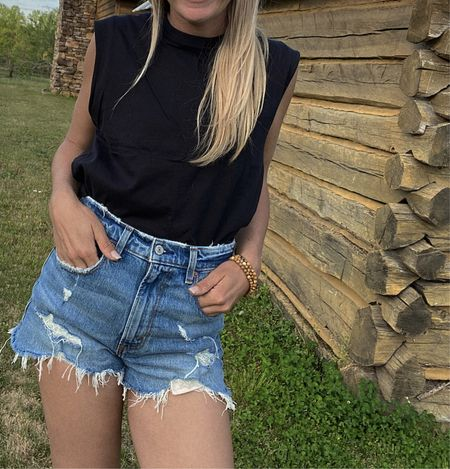 sale Summer date outfit  Abercrombie High Rise Mom Shorts and ribbed one shoulder white top as part of the LTK  Day Sale. These are my favorite denim shorts! Love the distressed look for date night, 4th of July, outdoor party.   #LTKSeasonal #LTKDay #LTKunder50
