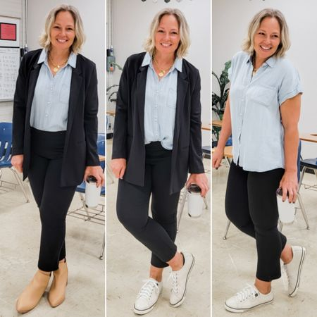 Casual everyday dall teacher mom outfit featuring three looks: dressy work outfit wirh blazer, kick crop flare ponte pants, and a chambray shirt and nude boots, then also with sneakers, then a casual version. #teacher #work #dressy #meeting #everyday #Casual #ponte #kickcrop #cropflares #leggings #chambray #blazer #black #whitesneakers #comfortable #fall #winter #petite #midsize http://liketk.it/3nnZx @liketoknow.it #liketkit