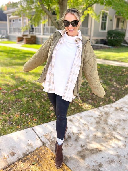 Fall outfits! My faux leather leggings, sweater, shacket, sunglasses and gold hoops are all amazon finds! These Chelsea boots are the perfect fall boot, and my jacket is a free people dupe!  #LTKstyletip #LTKshoecrush