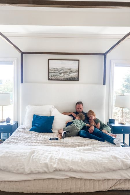 Bed and kids' outfit linked   http://liketk.it/3iOUX #liketkit @liketoknow.it   #canopybed #bed #wood #woodbed #bedding #duvet #whiteduvet #kids #kidclothes #white #velvet #master #bed #canopy #masterbedroom #whitemasterbedroom #onekingslane #black #blacknightstands #clearlamp #bedsidetable #bedsidelamps