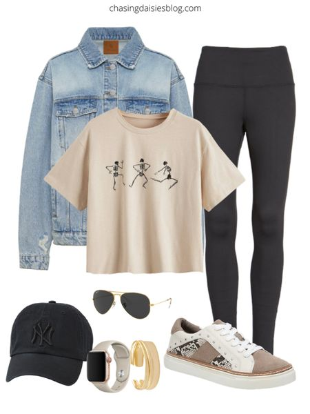 Spring outfit guide: shop this spring athleisure outfit. If you're looking for casual outfits or athleisure outfits on sale then you'll love casual spring outfits, including lululemon leggings, a jean jacket, cute sneakers under $50, and more #springoutfits #athleisure #lululemon #sneakers #LTKSeasonal #LTKshoecrush #LTKstyletip @liketoknow.it #liketkit http://liketk.it/38rtD