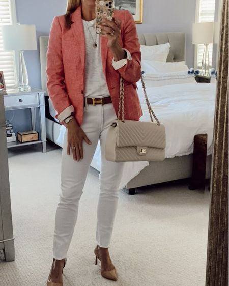 Summer work outfit. Transition from work to cocktails or BBQ with a change of shoes. All white. Linen blend blazer. White jeans. Nude heels. #LTKworkwear #LTKstyletip #LTKunder100 http://liketk.it/3h9ym #liketkit @liketoknow.it
