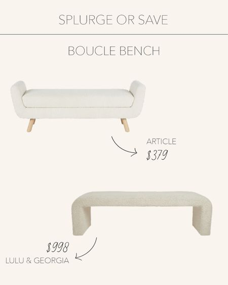 Splurge or Save | Boucle bench perfect for entry way or the foot of your bed 🤍  #LTKSeasonal #LTKstyletip #LTKhome