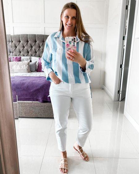 Outfit ideas  http://liketk.it/3co1L @liketoknow.it #liketkit #LTKstyletip #LTKshoecrush #LTKSpringSale #outfit #springoutfit #linenblouse #whitejeans #sandals