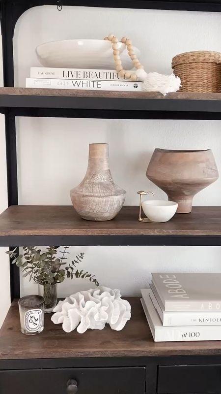Shelf styling, shelf decor, shelf accessories, neutral home decor, StylinAylinHome   #LTKhome #LTKstyletip #LTKunder100