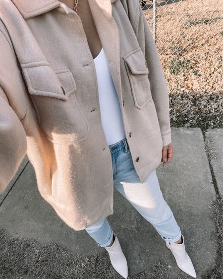 http://liketk.it/3cLhE #liketkit @liketoknow.it #LTKunder100 #LTKunder50 #LTKstyletip  Shacket isn't the exact one linked but I tried to link similar. Love this sand beige shacket with light blue mom jeans and a white bodysuit 😍 paired with gold chain necklace and white booties ♥️ so perfect for any season!