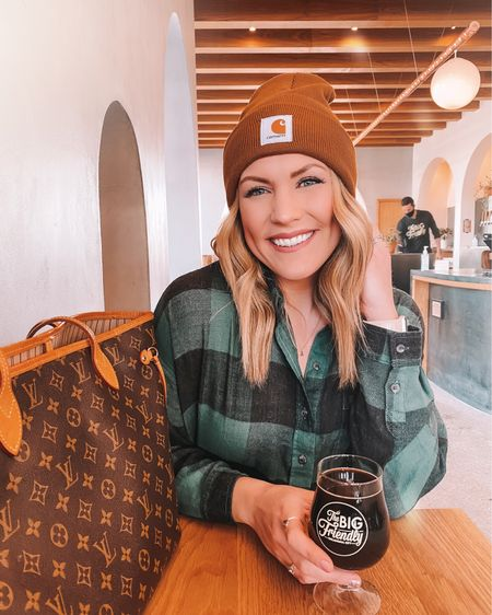another snow day, another carhartt beanie....please tell me you've seen that tiktok 💀 . . Linking my cropped plaid flannel, it's so dang soft! @liketoknow.it #liketkit http://liketk.it/38ycD