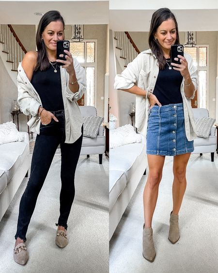 Amazon shacket styled a few ways! Runs true to size. Paired with black jeans, black tank or bodysuit and mules on the left.  And on the right paired with denim skirt, black tank and booties.  #LTKstyletip #LTKunder50 #LTKunder100