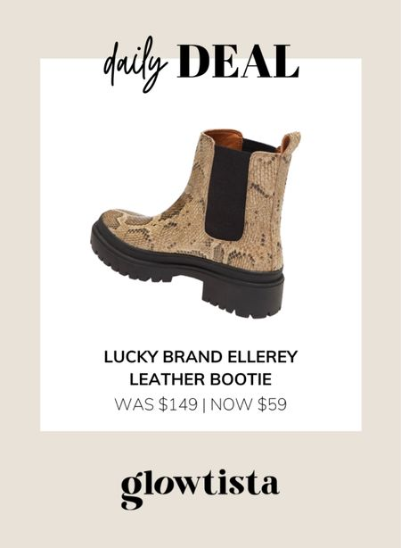 Snake print fall booties on sale for under $100. The Snakeskin print is so cute and the lug sole will look SO good with a leather jacket or teddy coat!  #LTKsalealert #LTKshoecrush #LTKunder100