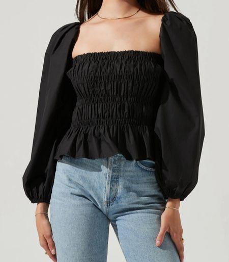 Black bubble sleeve smocked top   #LTKunder100 #LTKHoliday #LTKworkwear