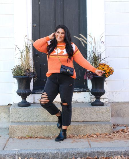 Halloween casual outfit from amazon fashion! Wearing a 2XL for sweater, 12 in jeans, size down in Chelsea boots!   midsize, mid size, size 12, size 14, sweater weather, amazon sweaters, ripped denim, mom jeans, fall fashion   #LTKSeasonal #LTKstyletip #LTKcurves