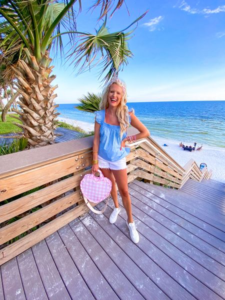 Baby blue tank top - size L - runs big so size down! Use code KIM15 for 15% off White high waisted shorts White sneakers run large so size down a half size Stony clover gingham pink watermelon tote comes in other colors Kendra Scott gold necklace Target gold hoops Budha girl pink bangles Budha Grill gold bracelet stack  Summer outfit, vacation outfit, easy outfit, target style   #LTKsalealert #LTKtravel #LTKunder50