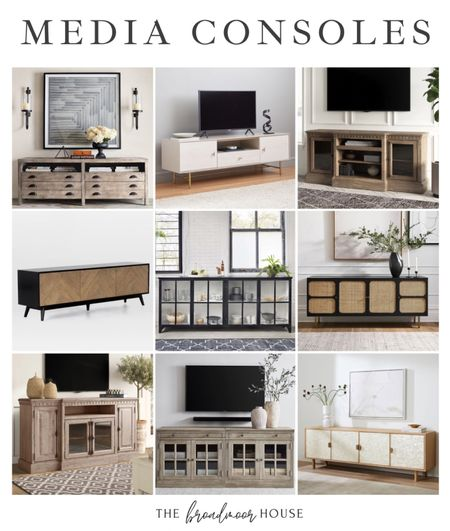 These media consoles are so beautiful! There are so many that are inspired pieces from restoration hardware!  Media console , TV Console, living room furniture, modern furniture, cane cabinet, cane furniture, BoHo, West Elm, Pottery Barn, Birch Lane, metal furniture, metal cabinet, light wood, white furniture, mid century modern   #LTKfamily #LTKstyletip #LTKhome