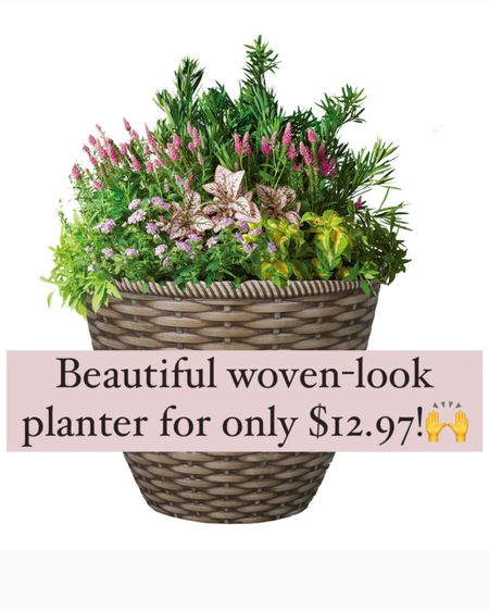 """Outdoor plastic planters that look great for an amazing price!!   Your summer annual flowers will look beautiful in this """"woven"""" planter! 🌸🌸🙌   Shop my decor & finds by following me on the LIKEtoKNOW.it app ☺️        http://liketk.it/3iBiK / #liketkit @liketoknow.it #LTKhome #LTKunder50 #LTKstyletip @liketoknow.it.home"""