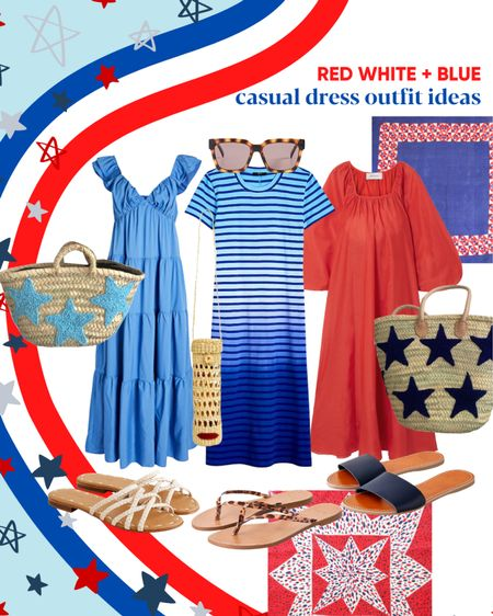 4th of July red white and blue casual summer dress outfit ideas.     #LTKstyletip #LTKunder100 #LTKSeasonal
