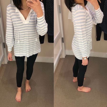 """I tried on this striped tassel top in size XS regular. This top runs long and tunic length on me. For reference I'm 5' 2.5"""". It fits true to size for a relaxed fit. I ordered my usual size XXS regular to try. @liketoknow.it http://liketk.it/2v6Ii #liketkit #LTKsalealert #LTKunder50 #LTKunder100"""