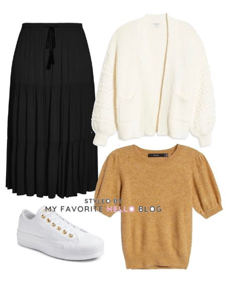 Fall family photo Casual fall outfit with black skirt, ivory cardigan, camel sweater and white sneakers  #LTKunder50 #LTKSeasonal #LTKtravel