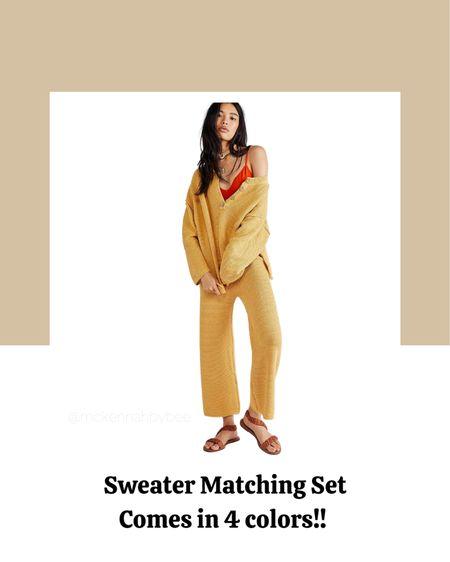 Matching set, loungewear, fall fashion, fall finds, free people, sweater set.   #LTKSeasonal #LTKstyletip #LTKbacktoschool