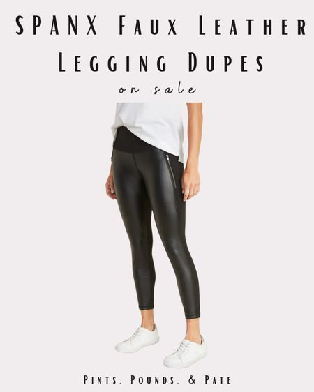 Spanx faux leather legging dupes from Old Navy! $32 before coupons! #dupes #leatherleggings #fauxleather #oldnavy   #LTKunder50 #LTKunder100 #LTKsalealert