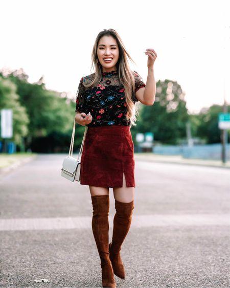 Nordstrom Anniversary Sale  Black floral embroidered blouse - XS / TTS  Suede mini skirt - 25 (I need 24) / TTS  Brown suede otk boots   @liketoknow.it http://liketk.it/3jVa0 #liketkit #LTKworkwear #LTKshoecrush #LTKsalealert